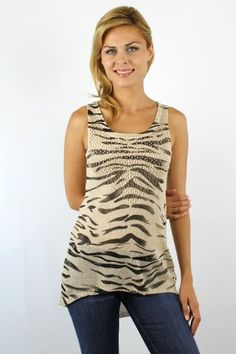 Beige zebra print high low knitted tank top http://enewwholesale.com/a140724rose-clone-en.html