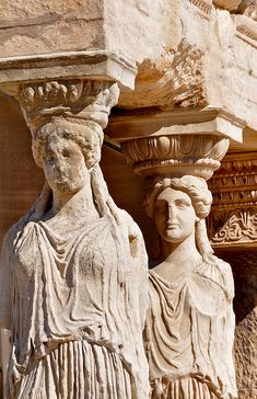 This is from Erechtheion, Acropolis, Athens, Greece. It resembles Greek dress because of the way the architecture contains statues. The statues have the long, draped garments that the Greeks normally wore and the hair pulled back in the same style. Ancient Greek Art, Ancient Ruins, Ancient Greece, Egyptian Art, Ancient Artifacts, Ancient Egypt, Greek History, Ancient History, Art History