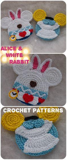 Toys Patterns little cotton rabbits Alice and White Rabbit Mouse crochet patterns Disney Crochet Patterns, Crochet Disney, Knitting Patterns, Crochet Mouse, Crochet Gifts, Free Crochet, Crochet Coaster, Crochet Projects, Crochet Ideas