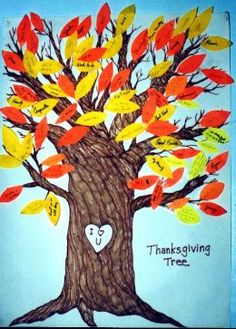 Cute idea...could make it so that everyday in November up to Thanksgiving the kids will write on a leaf what they are thankful and attach it to the tree. Then on Thanksgiving all read it together.