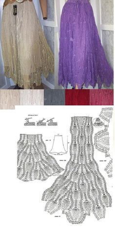 Crochet Skirts crochet pineapple skirt - you repeat the motif as many times as you want, the more motifs~the more froufrous! Mode Crochet, Crochet Diy, Crochet Skirts, Crochet Woman, Irish Crochet, Crochet Clothes, Crochet Tops, Crochet Diagram, Crochet Chart