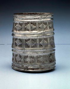 Bactrian Silver Cylindrical Cup with Crenellated Decoration | Flickr - Photo Sharing!
