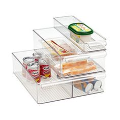 Organize food items in your refrigerator and freezer with our Fridge Binz Trays.  Use them to group food items by use or size.  They'll help you find what you are looking for more quickly and put an end to wasted time with the door open.  They're stackable for efficiency and to create additional storage space.  Stacked bins can slide on top of one another. $7.99-$14.99 Each