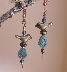 Bohemian dangle earrings with cute bronze birds perched on