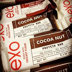 @exoprotein bars. Protein bars made of cricket flour (Syrsa in ). Containing The same essential amino acids and omega-3 fatty acids as in meat poultry and fish. Also contains micronutrients like iron and calcium.  This is not only sustainable (there are a lot of crickets and insects in the world..) it also tastes great.  A game changing protein bar.  The future is already here.  #ExoProtein #CricketFlour #InsectProtein #Crickets #CricketSeason #SupplementYourLifeStyle #ProteinBar…