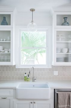 LOVE this tile and these cabinets