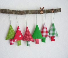 Christmas tree ornaments 6 fabric gingham christmas decoration