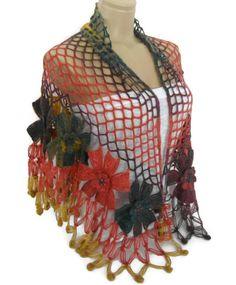 flower shawl crochet shawl wedding brideRainbow by likeknitting