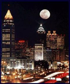 Moon over Atlanta, Georgia