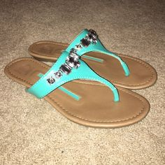 Teal Sandals With Rhinestones!