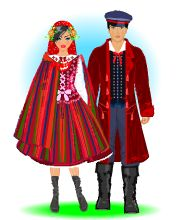Strój świętokrzyski Polish Clothing, Polish Folk Art, Folk Costume, Dance Costumes, Folklore, Traditional Outfits, Montessori, Fairytale, Worksheets