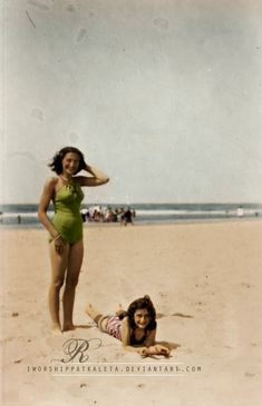 Anne Frank and her older sister Margot at the seashore, 1941. Vintage black & white colored photograph.
