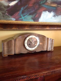 ART DECO MANTEL CLOCK, MADE IN GERMANY. 10H X 24W