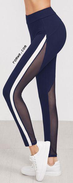 Striped Side Mesh Panel Leggings