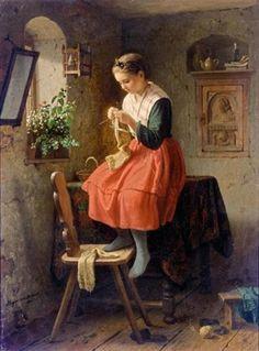 Girl knitting by a window, 1864 -- by Johann Georg Meyer von Bremen (German, 1813–1886)