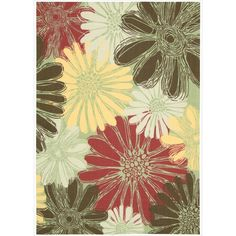 Suited for indoor and outdoor use, this durable, polyester floral rug provides lasting comfort and style to a wide variety of rooms. The earthy reds, yellows, and greens add a natural and elegant aesthetic to many existing arrangements.