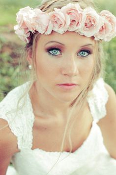 Beauty Inspiration: Chic and boho flower crown with a rosy smokey eye. Floral crown by All Occasions Florist Hair & makeup by Jolie Day Spa Photo captured by Brides & Dolls via Rustic Wedding Chic Trendy Wedding, Boho Wedding, Perfect Wedding, Dream Wedding, Ethereal Wedding, Wedding Veils, Spring Wedding, Wedding Bands, Vintage Bridal Bouquet