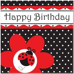 Ladybug 'Happy Birthday' Large Napkins/Serviettes (Pack of 16)