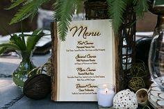 burned menu cards   Magnolia Bluebird design & events