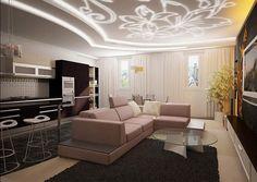 Натяжные двухуровневые потолки для гостиной