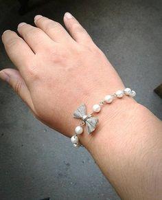 Sideways Silver Bow Pearl Bracelet Shabby Chic Bracelet Silver
