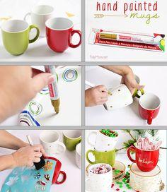 DIY Painted Holiday Mugs.  Tutorial at TidyMom.net