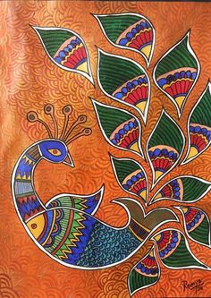 Peacock Painting - Peacock-fish by Remya Damodaran Madhubani Paintings Peacock, Kalamkari Painting, Peacock Painting, Madhubani Art, Indian Art Paintings, Peacock Art, Fabric Painting, Peacock Fabric, Painting Tips