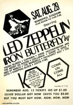 Led Zeppelin at The Man Pop Festival Winnipeg, Canada - August 29, 1970