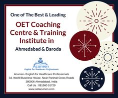 One of the Best and leading #OET #Coaching Centre & Training Institute in #Ahmedabad and #Baroda   Join 🤩 our #Online_OET_Classes at Acumen #Ahmedabad #Baroda !!  For any queries contact us at +91 81560 01729