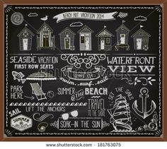 Chalkboard Poster Beach Huts - Blackboard advertisement for summer vacation and beach huts, with banners, labels, swirls and decorative chalk typography