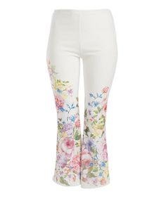 Another great find on #zulily! White & Yellow Floral Flare Pants - Plus #zulilyfinds
