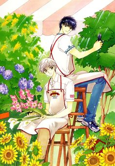 CardCaptor Sakura - Yukito and Touya working in the garden together.