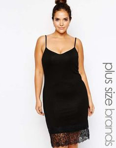 Love the club l Club L Plus Size Cami Dress with Eyelash Lace Hem on Wantering.