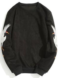 Animal Crane Patch Suede Sweatshirt - Black L Latest Mens Fashion, Womens Fashion, Sports Hoodies, Funny Hoodies, Sweatshirts Online, Online Clothing Stores, Street Style Women, Menswear, Crane