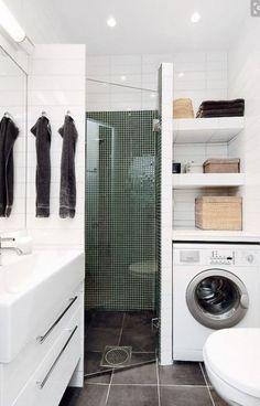 40 Best Modern Bathroom Shower Ideas For Small Bathroom – Page 7 – Architecture World Small Bathroom Storage, Laundry Room Storage, Bathroom Design Small, Laundry In Bathroom, Bathroom Designs, Paint Bathroom, Hall Bathroom, Laundry Rooms, Tiny Bathrooms