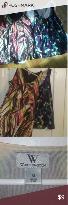 Two Worthington ruffled blouses. Two cute multi color ruffled blouses. Looks nice under a blazer. Tops Blouses