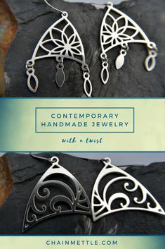 Handmade stainless steel earrings inspired by flowers. These laser cut pieces were designed by an architect looking to bring more flowy, natural lines into her life. They're super shiny, weatherproof, and easy to care for! All Stainless Steel, Stainless Steel Earrings, Laser Cut Jewelry, Natural Line, Geometric Jewelry, Laser Cutting, Handmade Jewelry, Drop Earrings, Necklaces