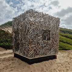 "INSTAGRAM 20 Aug. Elliette Fransman (Pullinglight) (photo). Artwork 'Genius Loci' by Andrea Cristoforetti and Roger Trebilcock ""the driftwood man"". Site_Specific #LandArtBiennale. #LandArt #Plett"