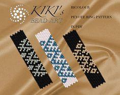 Pattern peyote rings Bicolour peyote ring set of 3 Peyote Beading, Peyote Stitch Patterns, Bracelet Patterns, Beading Patterns, Tutorial Anillo, Ring Tutorial, Ring Set, Seed Beads, Bracelets
