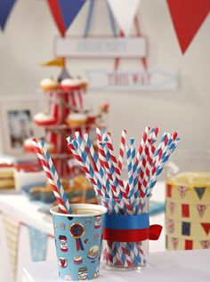 Paper Straws 30 red, blue and white striped paper straws.