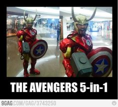 """Avengers in One! But I can't figure out the 5th. Unless they are calling Tony Stark """"an"""" Avenger separate from Iron Man. Or he has purple shorts on that we can't see."""