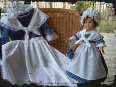 Custom Boutique Historical American Girl Inspired Colonial FELICITY Work Day Girl and Matching 18inch Doll BLUE Costume Dress Set. $125.00, via Etsy.