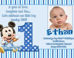 Baby Mickey Mouse Cumpleanos Primer Equipo Por Catalinaforever 1st Birthday Invitation Wording Free
