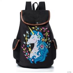 Women Travel Rucksack Cartoon Unicorn Printed