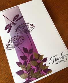 Card: Whisper White Stamps: Summer Silhouettes, Awesomely Artistic, Wetlands (sentiment) Inks: Blackberry Bliss, Elegant Eggplant, Perfect Plum, Tuxedo Black, Versamark Other: Gold embossing powder, gold gel pen. All products Stampin' Up.