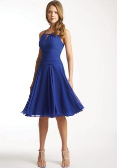 Scoop Neckline Halter Dark Royal Blue Chiffon Knee Length Bridesmaid Dress