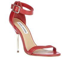 Steve Madden REBUTTLE RED womens dress high ankle strap Design works No.1399 |Red Heels|