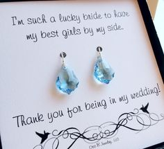 Swarovski Elements Crystal Drop Earrings For Bridesmaids, Bridesmaid Jewelry…