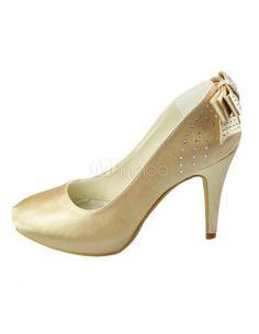 White Bow Round Toe Satin Bridal Shoes - Milanoo.com