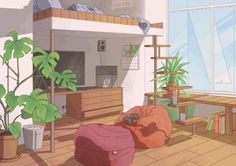 aesthetic cartoon anime living afternoon scenery gifs backgrounds episode interactive plants reacciones places imgur bts relaxed wallpapers story kawaii